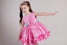 Knee-length Rose Pink Scoop Taffeta Belt Little Girl Dress