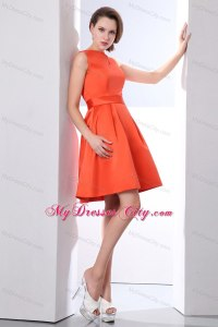 Orange Red Bateau Beaded Junior Bridesmaid Dress Mini ...