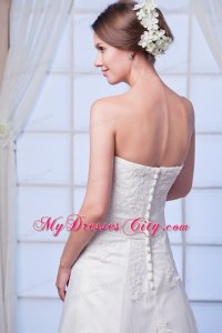Elegant Strapless Lace Appliques Button Down Back Wedding