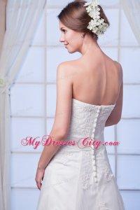 Elegant Strapless Lace Appliques Button Down Back Wedding ...