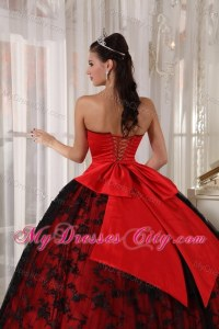 Red and Black Ball Gown Lace Sweet 15 Dress with ...