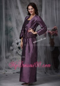 Eggplant Purple Ankle-length Taffeta Mother Of The Bride Dress