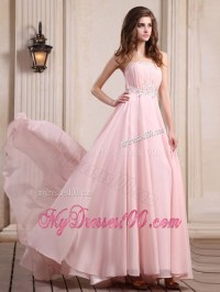 Strapless Baby Pink Brush Train Beaded Chiffon Prom Dress