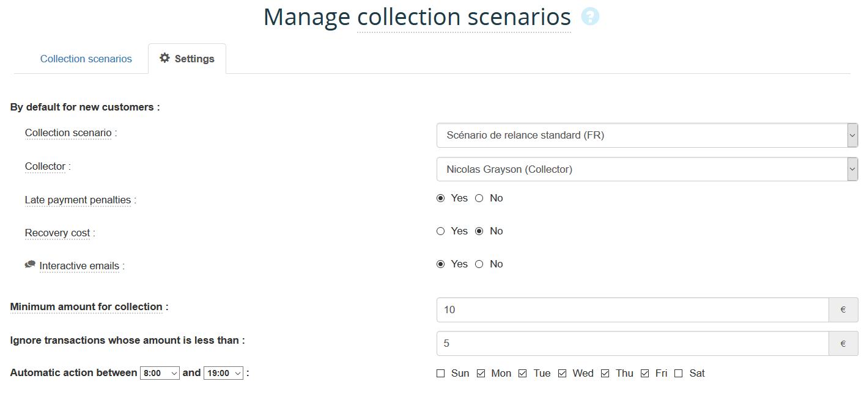 How to create or modify a collection scenario action