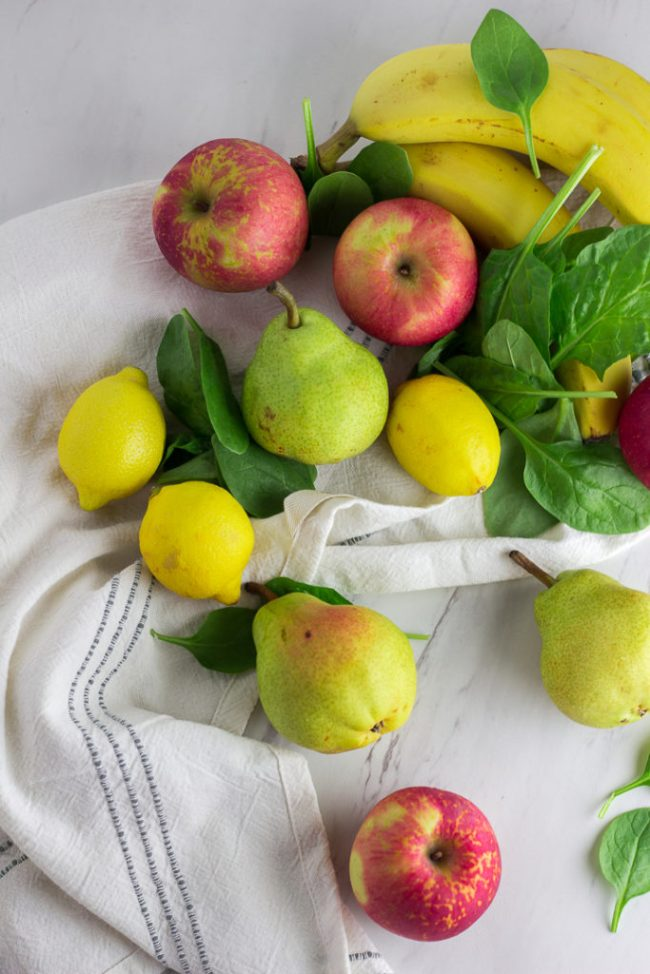 Picture of banana, apple, pear, lemon, and spinach