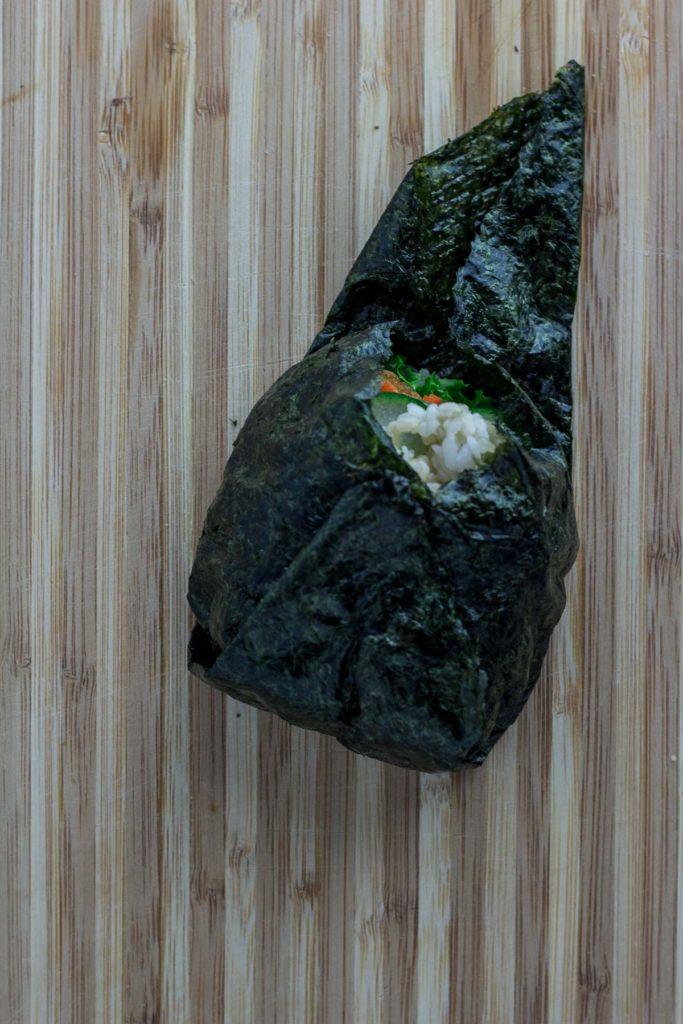 vegan onigirazu - wrapping step 3
