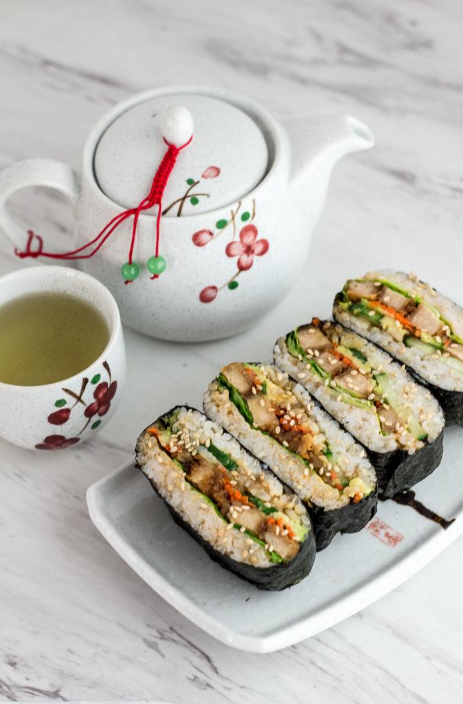 Vegan Sushi Rice Ball Sandwich - vegan onigirazo