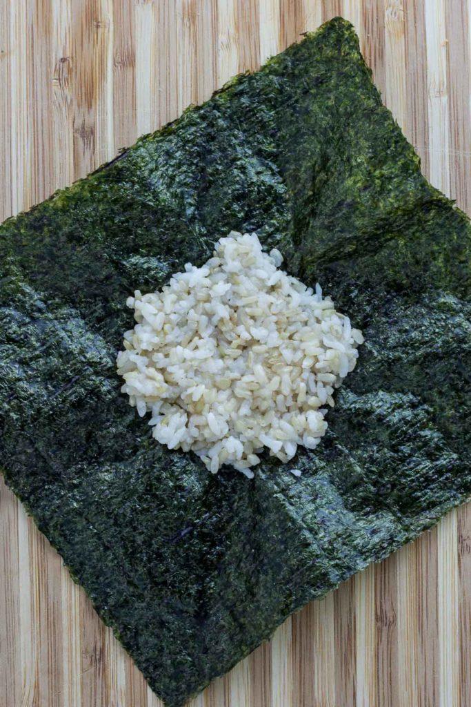 vegan onigirazu - step 1