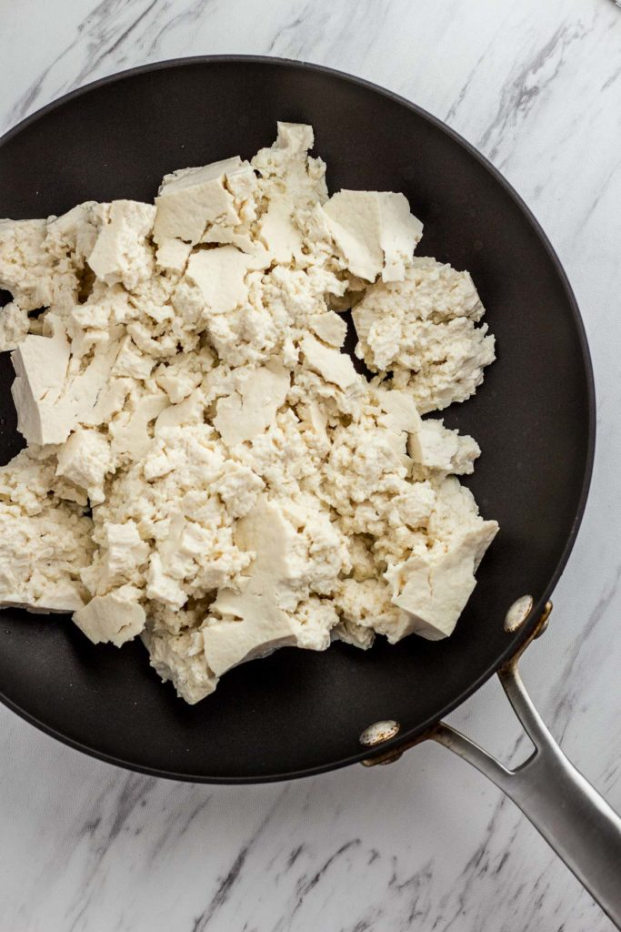 Tofu on the non-stick skillet without oil