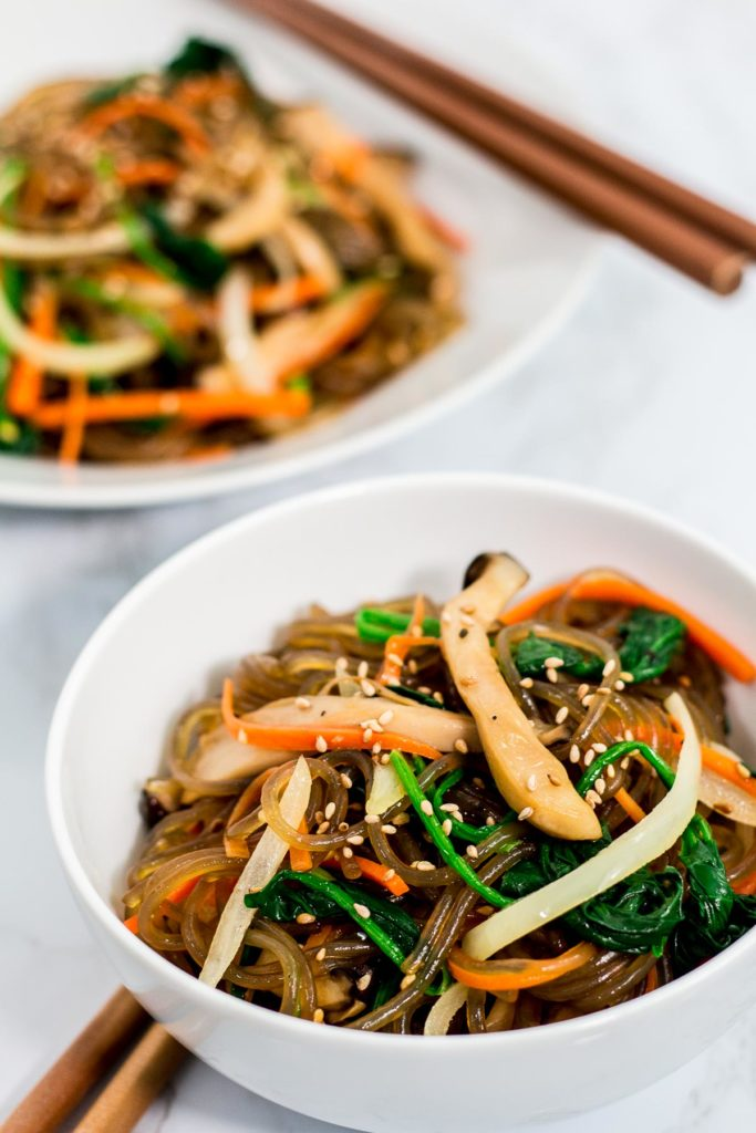Two bowls of mommy's japchae (vegan version)