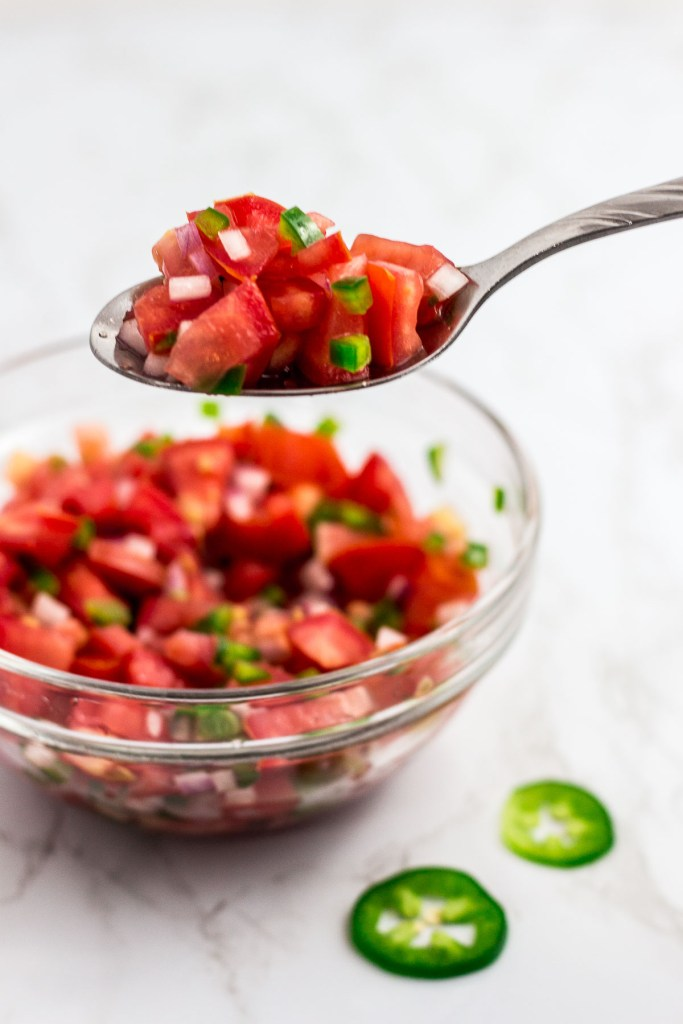 A spoonful of fresh homemade tomato salsa with red wine vinegar