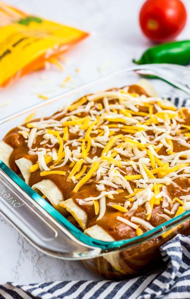 assembled vegetarian enchiladas before baked in the oven