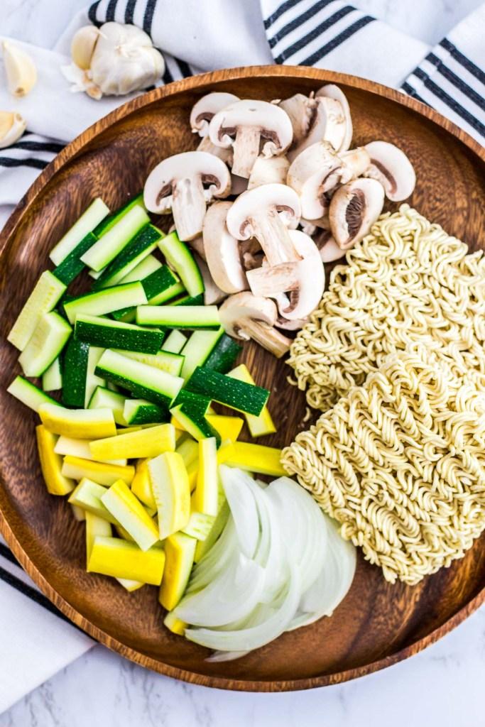 zucchini, yellow squash, mushroom, onion and instant ramen noodle