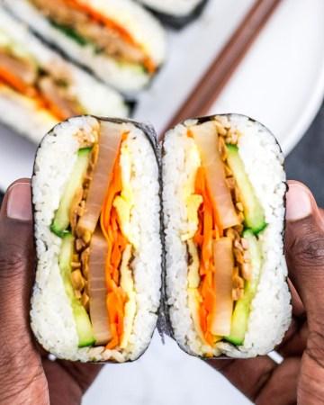 kimbap onigirazu cut in half to show the inside