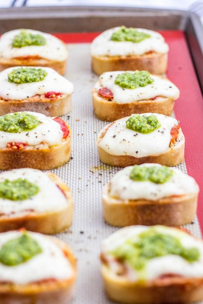 after baking crostini appetizer for the crowd