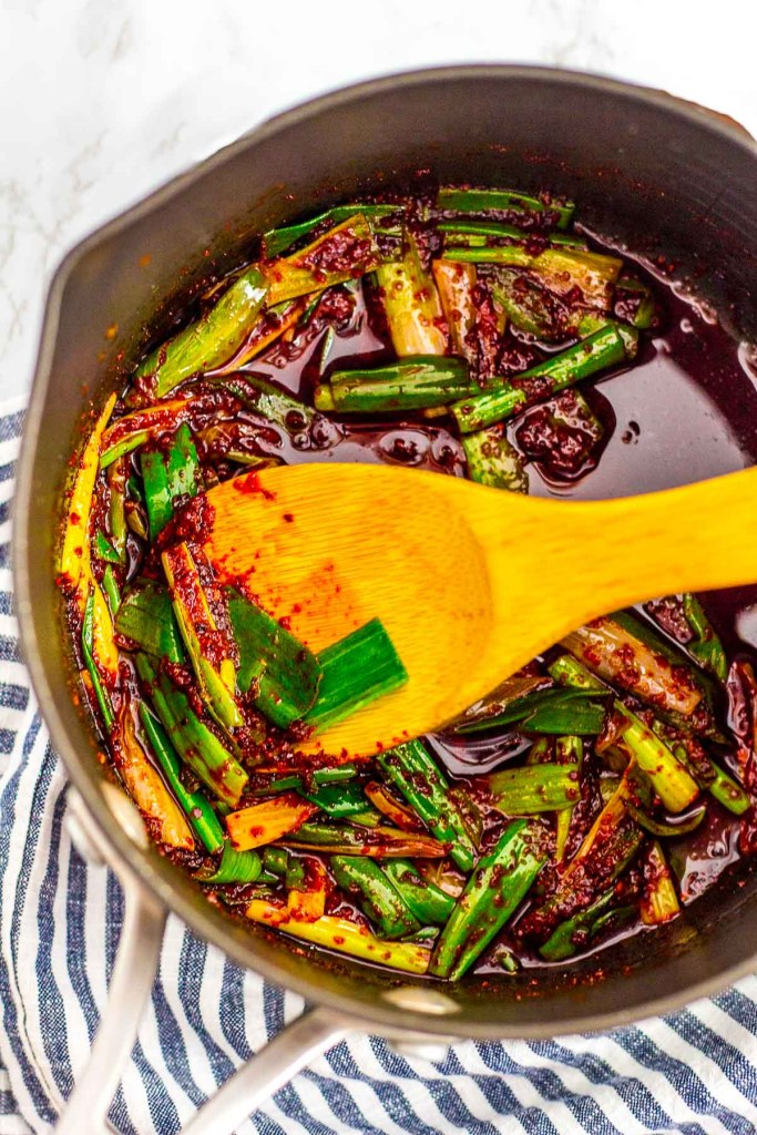 Green onion cooked in Korean chili oil