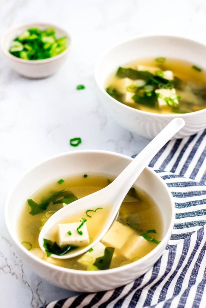 two bowls of vegan miso soup