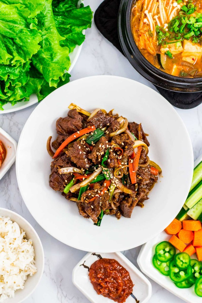 Seitan bulgogi with other Korean BBQ side dishes