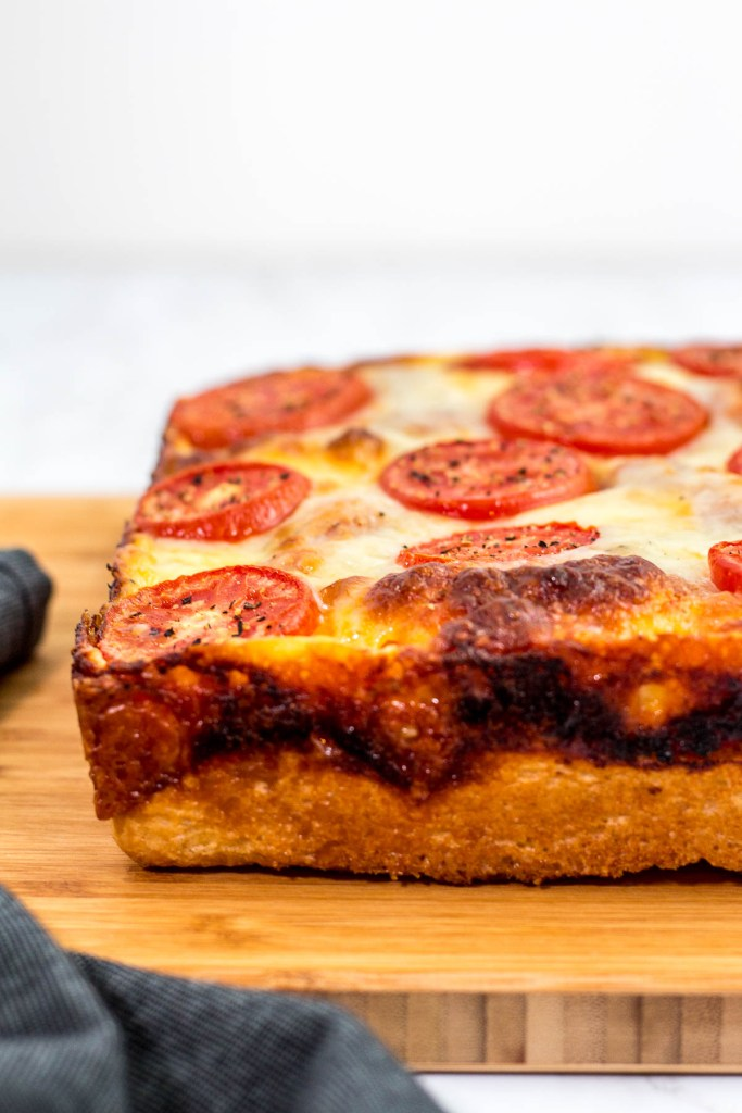 Direct shot of vegetarian Detroit style pizza