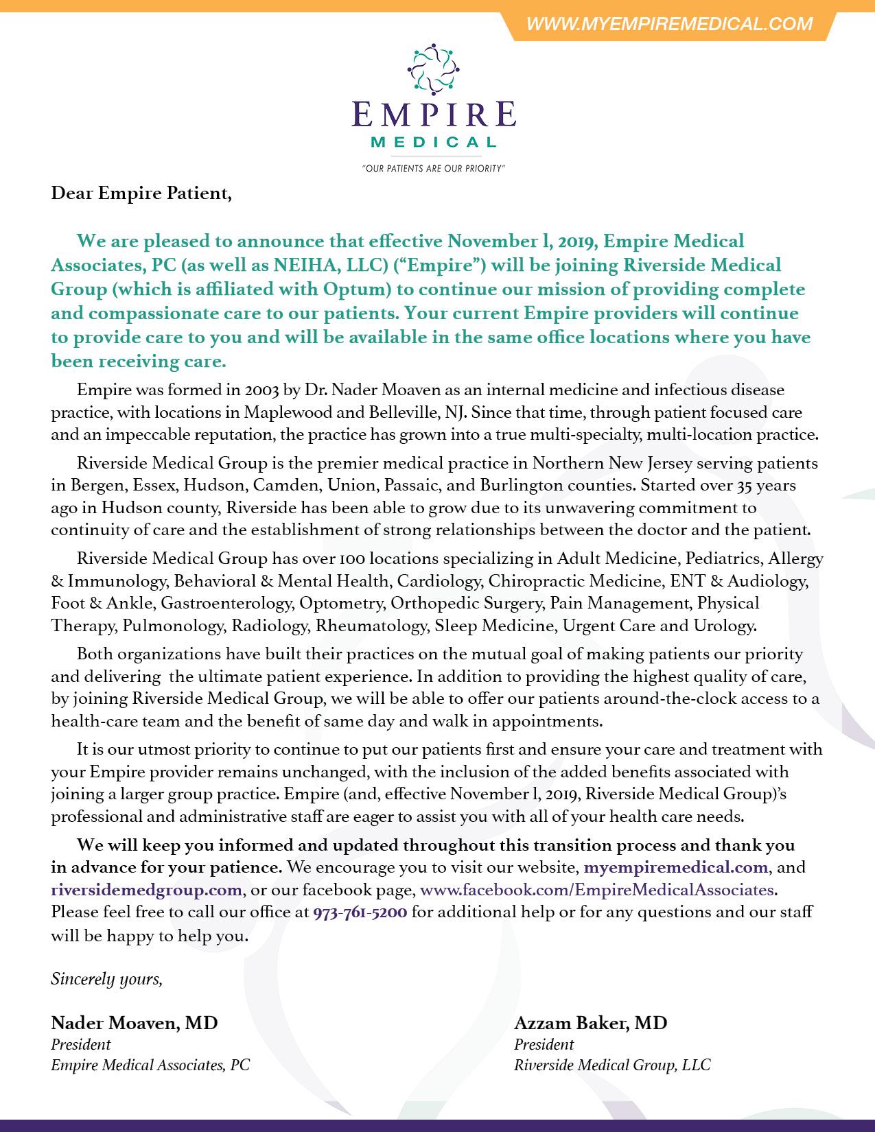 RMG Empire Letter