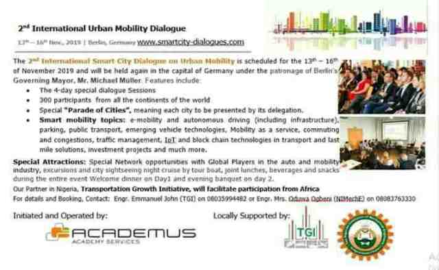 """Transportation Growth Initiative (TGI) Partners NIMechE on""""MOBILITY AND ACCESS IN AFRICAN CITIES"""""""