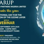 World Ozone Day: Arup Nigeria sets to mark International Day for the Preservation of the Ozone Layer, Invites all to its Webinar
