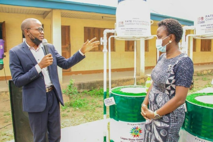COVID-19: Promise Fulfilled as Fate Foundation donates 50 hand washing devices made by Young Nigerians to LASG