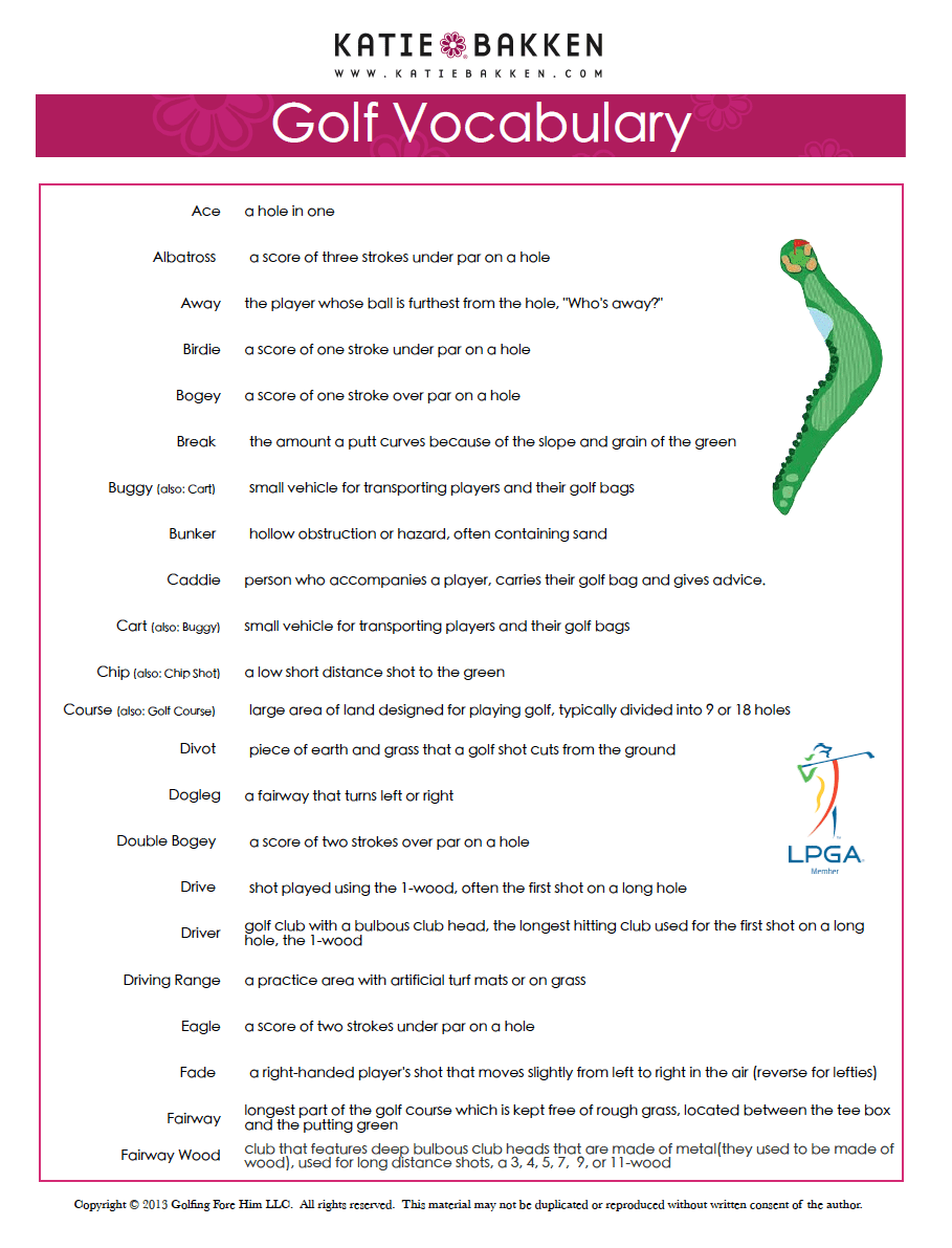 golf vocabulary a-f
