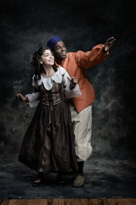 Sirena Abalian as Sara Crewe, Jared Dixon as Pasko,  From Fiddlehead Theatre Company's production of A Little Princess.