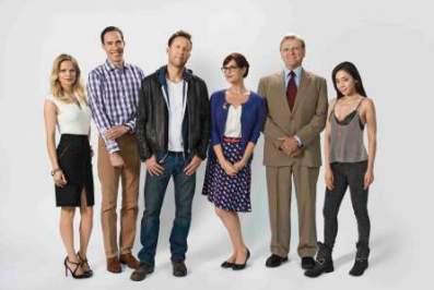 From left to right: Mircea Monroe, Mike Kosinski, Michael Rosenbaum, Sara Rue, David Rasche and Aimee Garcia. Photo courtesy of TV Land.