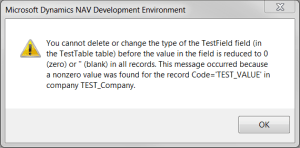 This message occurred because a nonzero value was found