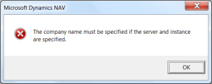 The company name must be specified if the server and instance are specified