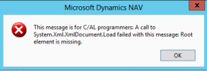 This message is for C/AL programmers: A call to System.Xml.XmlDocument.Load failed with this message: Root element is missing