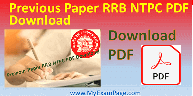 Previous Paper RRB NTPC PDF Download