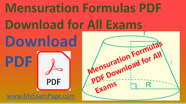 Mensuration Formulas PDF Download for All Exams