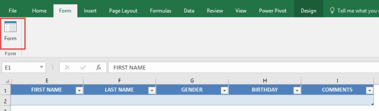 Formulario de entrada de datos de Excel