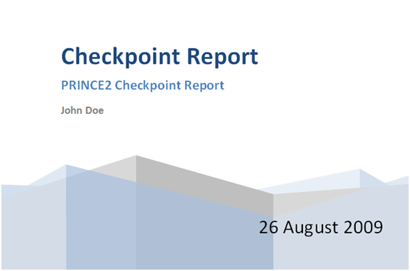 Free Prince2 Check Point Report Template