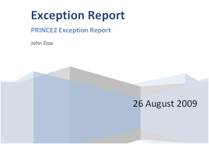 Prince2 Exception Report Prince2 Exception Report Template