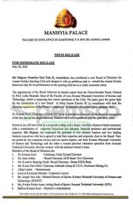 DR KWAME KYEI RETAINED AS MANHYIA ANNOUNCE 9-MEMBER BOARD OF DIRECTORS FOR KOTOKO 1