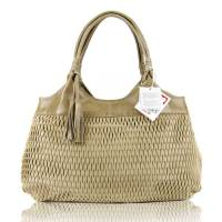 Beige Perforated Leather Handbag Made in Italy by Lazetti