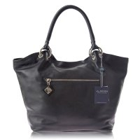 Black Leather Tote Handbag Made in Italy by Arcadia