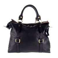 Black Leather Large Carryall Tote Handbag Made in Italy by ...