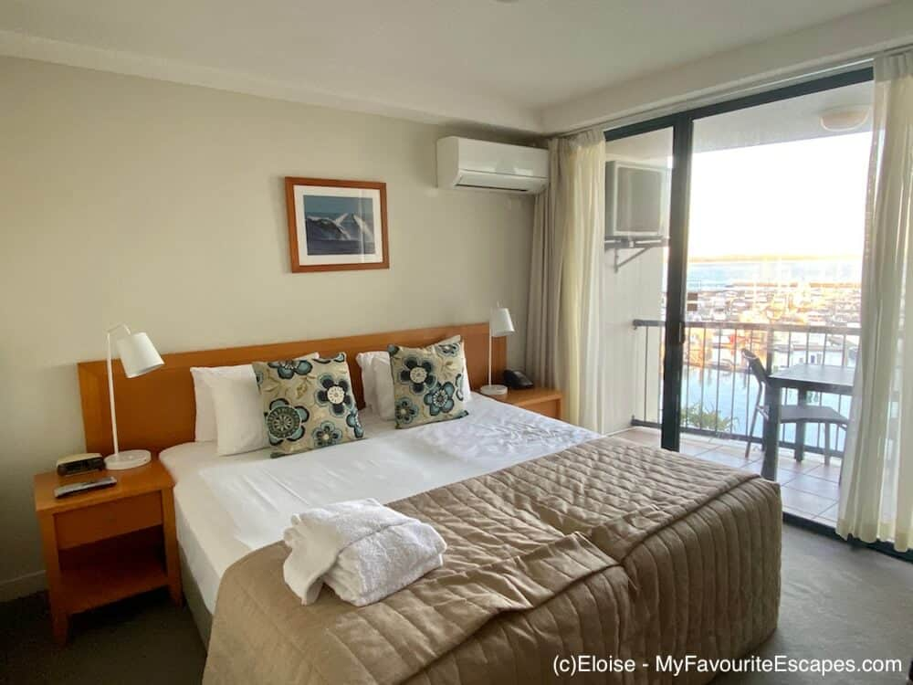 Room with marina views at the Mantra hotel in Hervey Bay