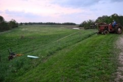 lawnmower and tractor