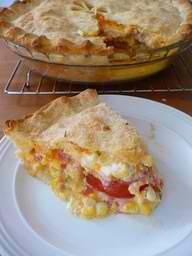 corn, tomato, and cheddar pie