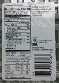 organic spinach label