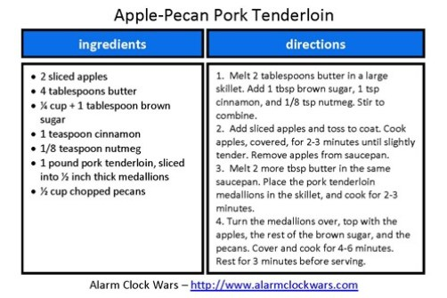 apple-pecan pork recipe card