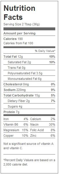 reduced fat creamy peanut spread nutrition label
