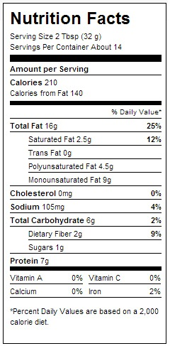 smuckers creamy natural nutrition label