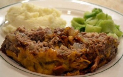 BBQ bacon-stuffed meat loaf